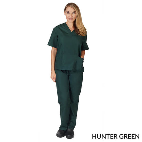 Hunter Green  Unisex Solid V-Neck Scrub Set  Have it  Personalized