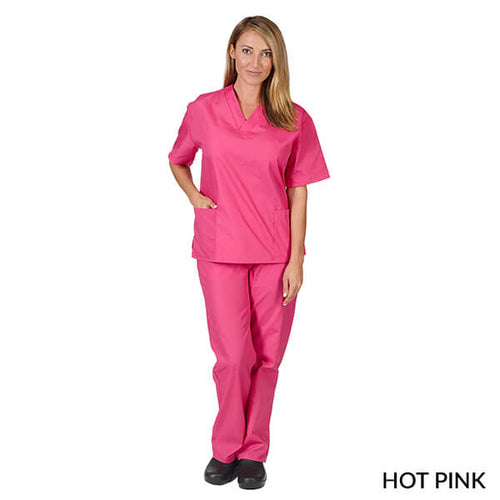 Hot Pink  Unisex Solid V-Neck Scrub Set  Have it  Personalized