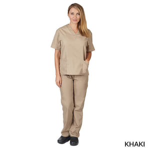Khaki  Unisex Solid V-Neck Scrub Set  Have it  Personalized