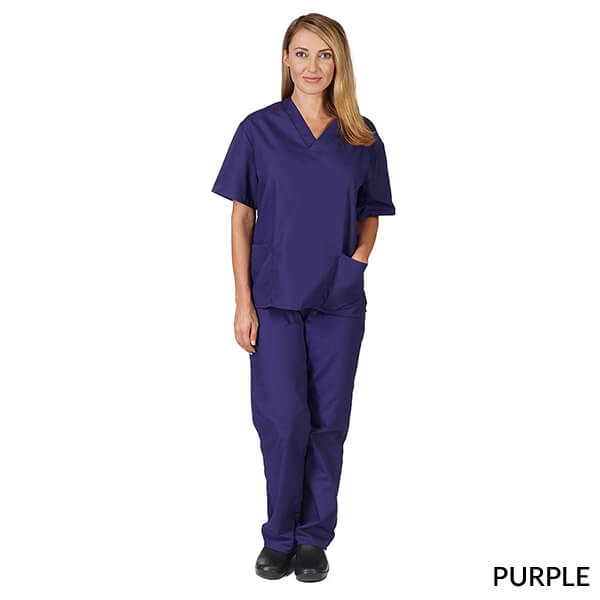 Purple  Unisex Solid V-Neck Scrub Set  Have it  Personalized