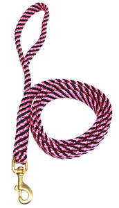 "5/8"" Flat Braid Snap Lead Black/Pink Spiral"