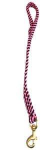 "5/8"" Flat Braid Traffic Lead  Black/Pink Spiral"