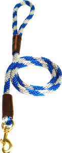 "1/2"" Solid Braid Snap Lead  Blue/Silver Spiral"