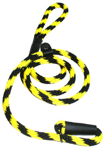 "Black Ops Collection 1/2"" Solid Braid Slip Lead  Black/Yellow Spiral"
