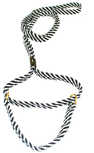 "5/8"" Flat Braid Martingale Style Lead Black/White Spiral"