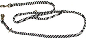 "5/8"" Multi Purpose Leash  Black/White Spiral"
