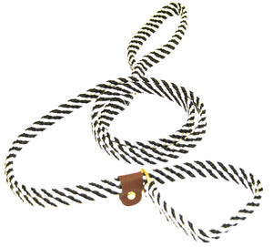 "5/8"" Flat Braid Slip Lead  Black/White Spiral"