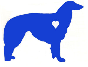 Heart Borzoi Dog Decal