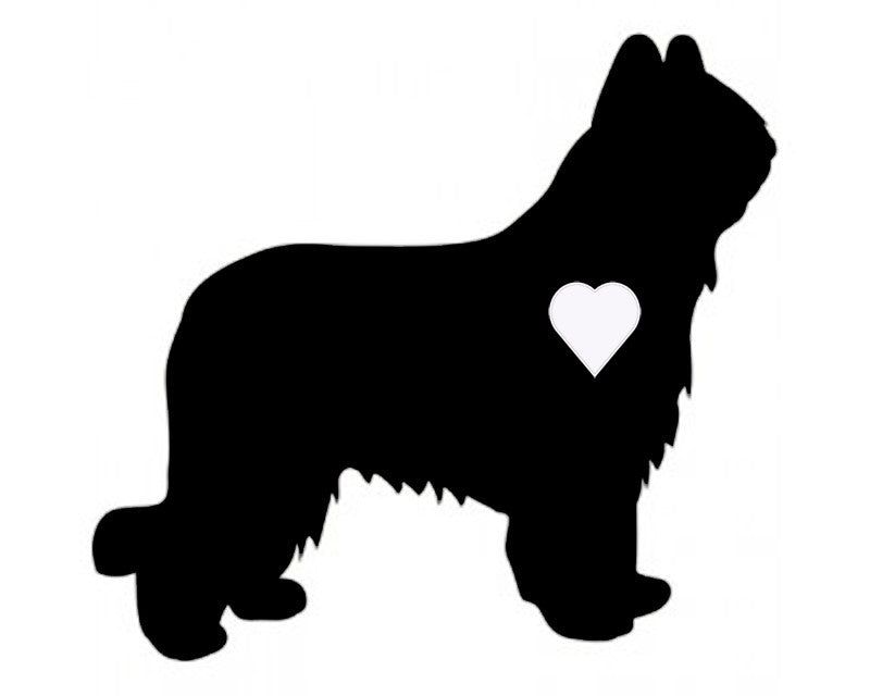 Heart Briard Dog Decal