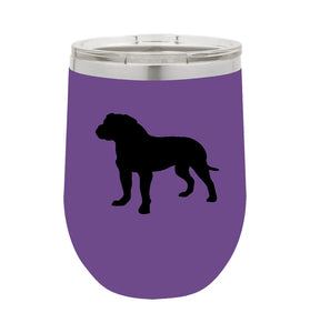 Bull Mastiff 12 oz Vacuum Insulated Stemless Wine Glass