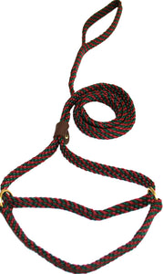 "5/8"" Flat Braid Martingale Style Lead Green/Maroon Spiral"