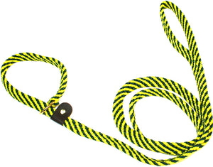 "5/8"" Flat Braid Slip Lead Green/Yellow Spiral"