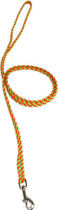 "1/4"" Flat Braid Snap Lead Lime Green/Orange Spiral"