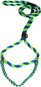 "1/2"" Solid Braid Martingale Style Lead Lime Green/Pacific Blue Spiral"
