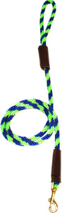 "3/8"" Solid Braid Snap Lead Lime Green/Pacific Blue Spiral"