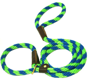 "1/2"" Solid Braid Slip Lead Lime Green/Pacific Blue Spiral"