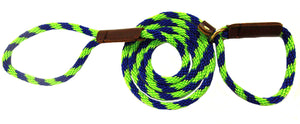 "3/8"" Solid Braid Slip Lead Lime Green/Pacific Blue Spiral"