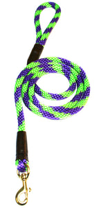 "1/2"" Solid Braid Snap Lead Lime Green/Purple Spiral"