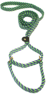 "5/8"" Flat Braid Martingale Style Lead Lime Green/Purple Spiral"