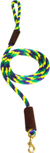 "3/8"" Solid Braid Snap Lead Mardi Gras"