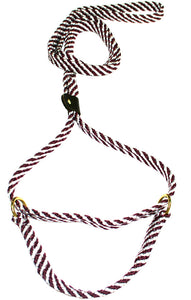 "5/8"" Flat Braid Martingale Style Lead Maroon/White Spiral"