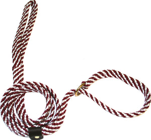 "5/8"" Flat Braid Slip Lead Maroon/White Spiral"