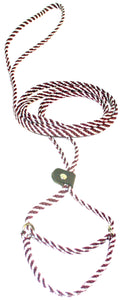 "1/4"" Flat Braid Martingale Style Lead Maroon/White Spiral"
