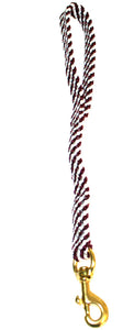 "5/8"" Flat Braid Traffic Lead Maroon/White Spiral"