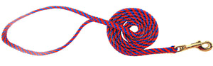 "1/4"" Flat Braid Snap Lead Pacific Blue/Red Spiral"