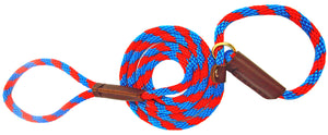 "3/8"" Solid Braid Slip Lead Pacific Blue/Red Spiral"