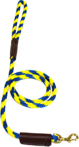 "3/8"" Solid Braid Snap Lead Pacific Blue/Yellow Spiral"