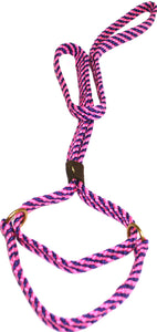 "5/8"" Flat Braid Martingale Style Lead Pink/Purple Spiral"