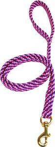 "5/8"" Flat Braid Snap Lead Pink/Purple Spiral"
