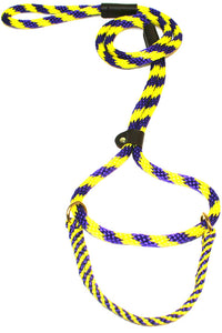 "1/2"" Solid Braid Martingale Style Lead Purple/Yellow Spiral"