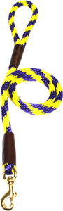 "1/2"" Solid Braid Snap Lead Purple/Yellow Spiral"