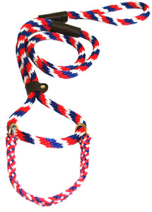 "1/2"" Solid Braid Martingale Style Lead Red/White/Blue"