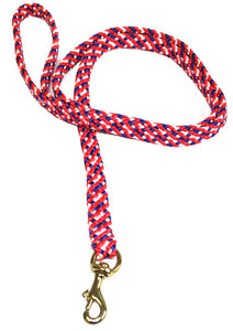 "5/8"" Flat Braid Snap Lead Red/White/Blue"