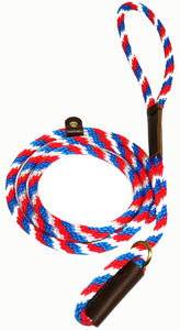 "3/8"" Solid Braid Slip Lead Red/White/Blue Spiral"