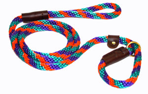 "1/2"" Solid Braid Slip Lead Teal/Purple/Orange Spiral"
