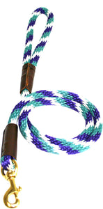 "1/2"" Solid Braid Snap Lead Teal/Purple/White Spiral"