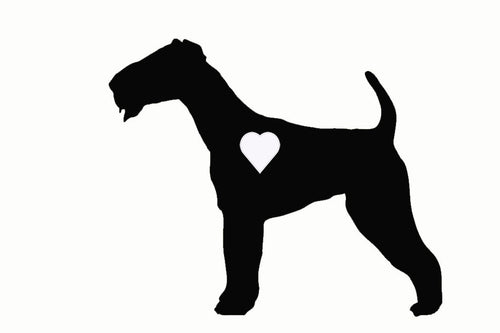 Heart Airedale Dog Decal