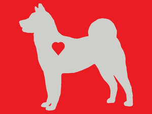 Heart Akita Dog Decal