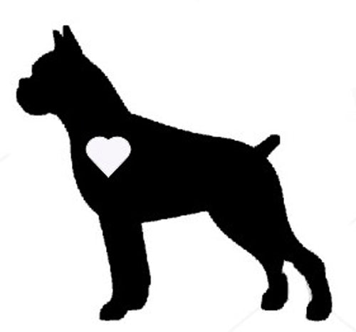 Heart Boxer Dog Decal