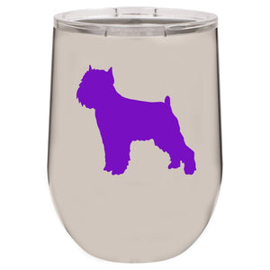 Brussels Griffon 12 oz Vacuum Insulated Stemless Wine Glass