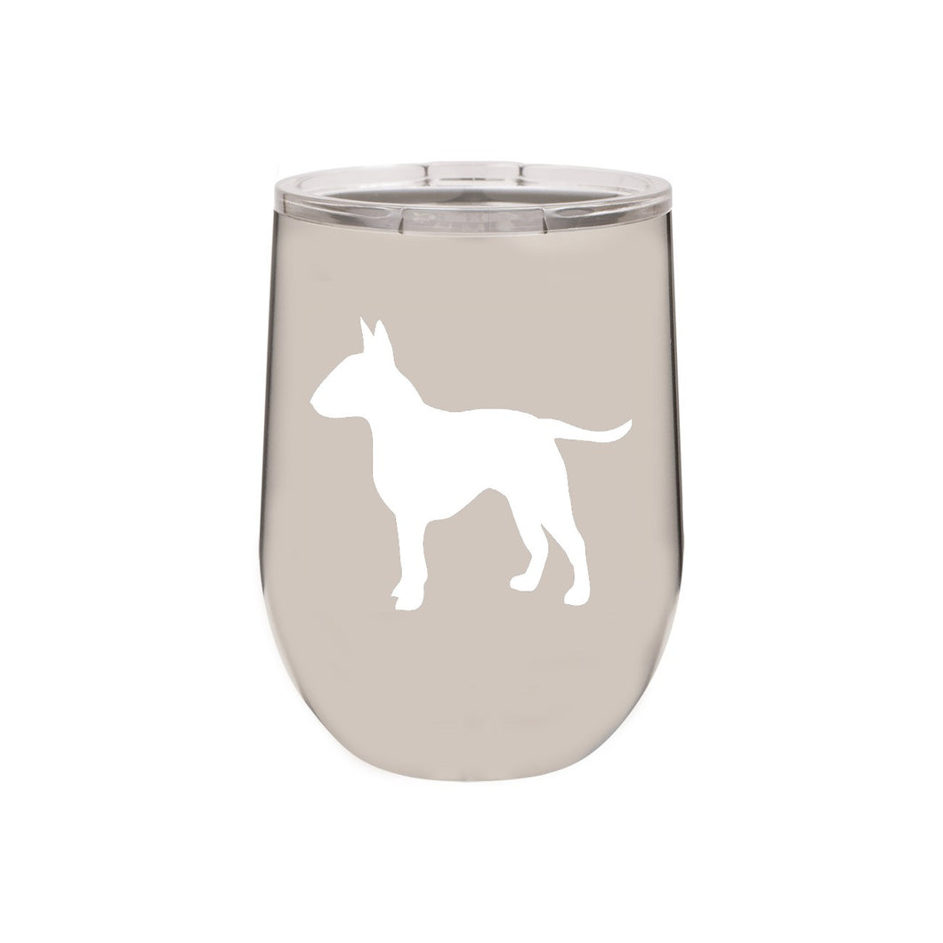 Bull Terrier 12 oz Vacuum Insulated Stemless Wine Glass