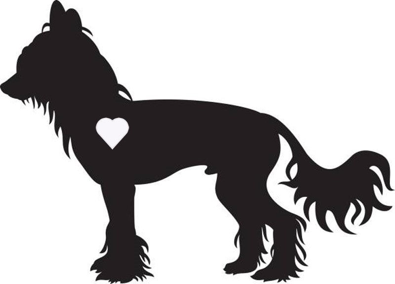 Heart Chinese Crested Dog Decal