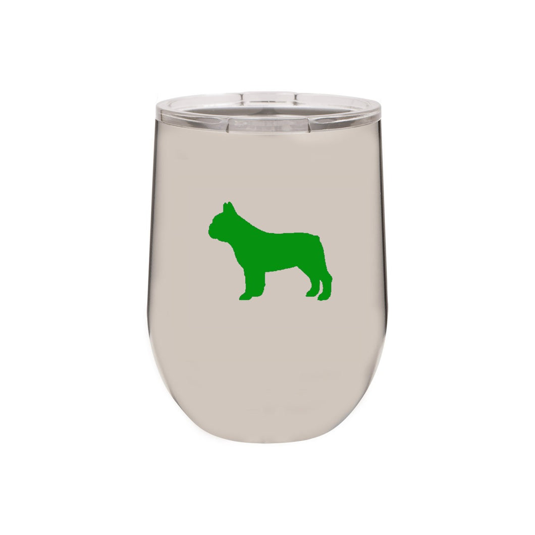 French Bulldog 12 oz Vacuum Insulated Stemless Wine Glass