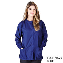 Load image into Gallery viewer, True Navy Blue  Warm Up Scrub Jacket      Have it Personalized