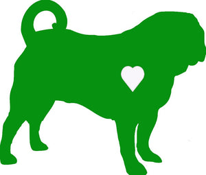 Heart Pug Dog Decal
