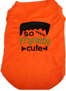 Halloween Embroidered Dog T-Shirt So Franken Cute